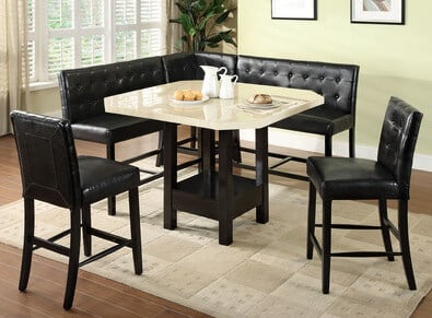 With an espresso wood base, button tufted leather upholstery, and a faux marble tabletop, this corner dining set is aiming for a solidly luxurious space. The rich, high contrast look features a unique setup, with a pair of chairs in lieu of a bench seat. This set would look perfectly in any upscale setting, traditional or modern.