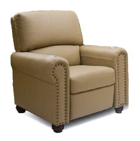 If a more traditional style is your aim, look no further than this roll-arm chair with nailhead trim. The classic appearance belies a thoroughly modern construction, with full reclining function hidden in a timeless package.
