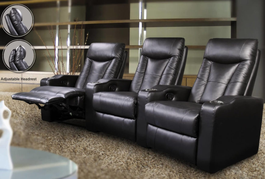 Perfect for sports fans and movie buffs, this triple threat seating arrangement means you and two companions can relax in style and comfort. With adjustable headrests and top-notch reclining systems, each seat is fully adjustable. Each seat has its own chromed metal cupholder and foot rest. Top grain leather upholstery and a hardwood frame add durability to these awesome theater-style seats.