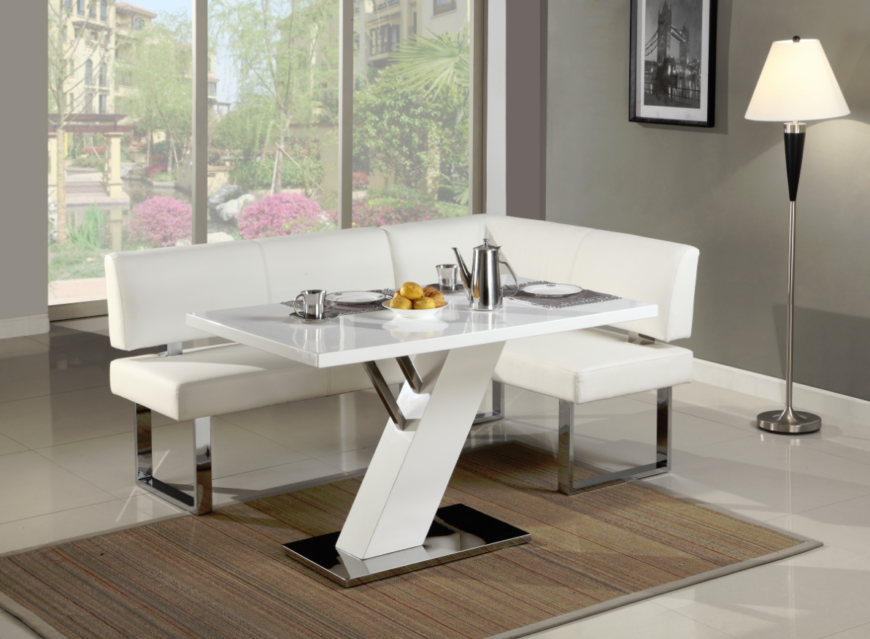 Our final corner dining set is another solid example of sleekly modern style, with a glossy white tabletop mounted on an angled white stand with stainless steel accents and base. The bright white leather upholstered bench sits on a chromed frame as well, making for a visually arresting presence.
