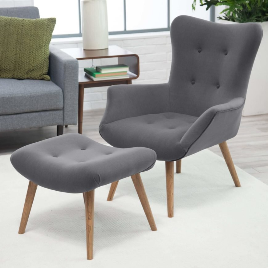 Sleek and simple in design, this chair and ottoman set employs a timeless design that goes well with any style decor. Slightly contrasting piping and button features add subtle detail, while simple woodgrain legs add warmth to the overall look. This elegant set is just right for the low-key, minimalist man cave.