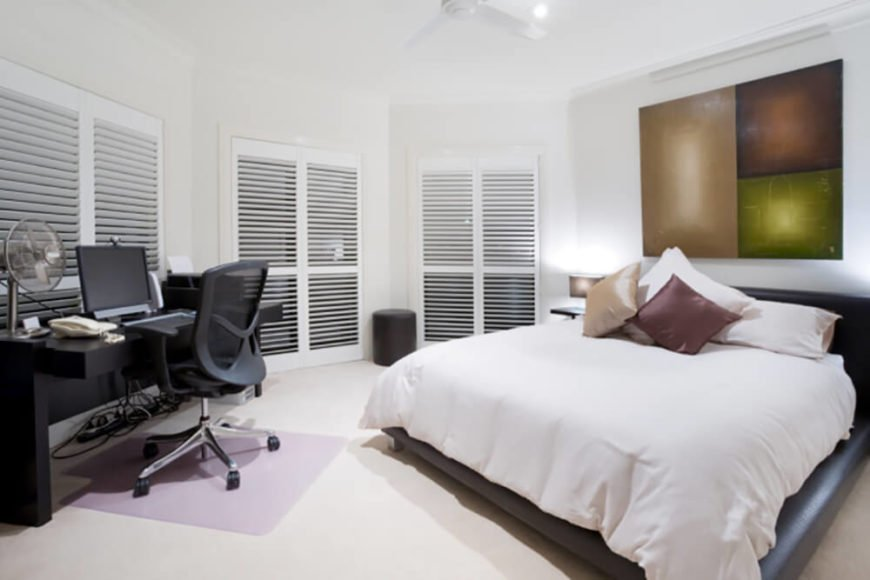 Welcome to our gallery featuring a stunning arrangement of bedrooms with a desk or office space.