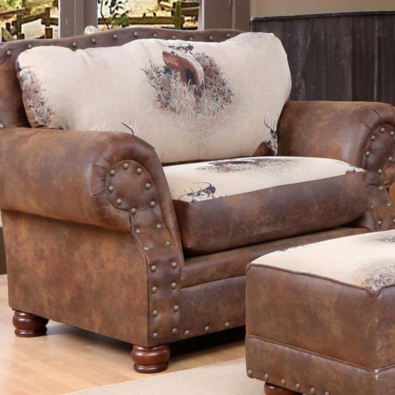 This big, cozy chair and a half is perfect for the huntsman. With a rustic design and trophy buck print on the oversized 1.8 foam, Dacron wrapped cushion and 8-gauge sinuous springs, this seat is built for comfort. Trophy buck print on the back and cushion give this outdoorsy chair its finishing touches.