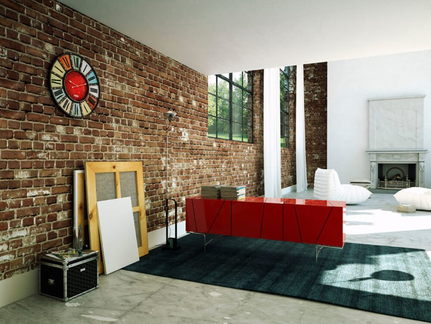 It is fairly common to find a studio apartment that has some sort of brick structure within. Often, rehab companies must remove years of built-up paint or cheap wood or vinyl paneling to expose the brick underneath.