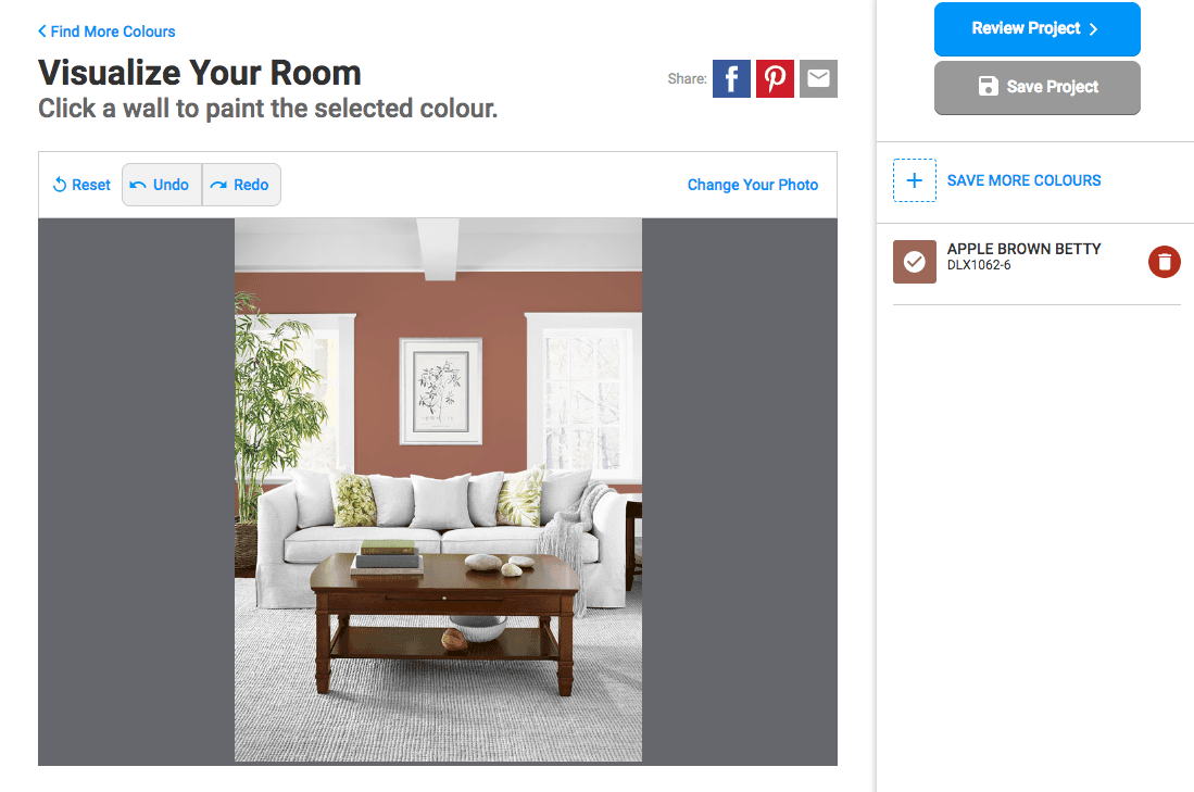 View different colors in room interior with virtual painter software - dulux