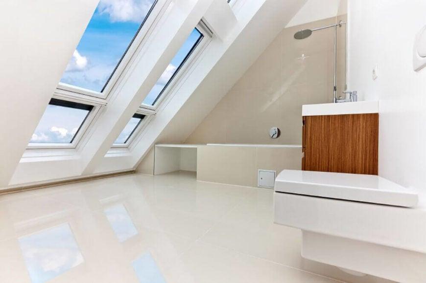 Skylight Windows in Attic Bathroom