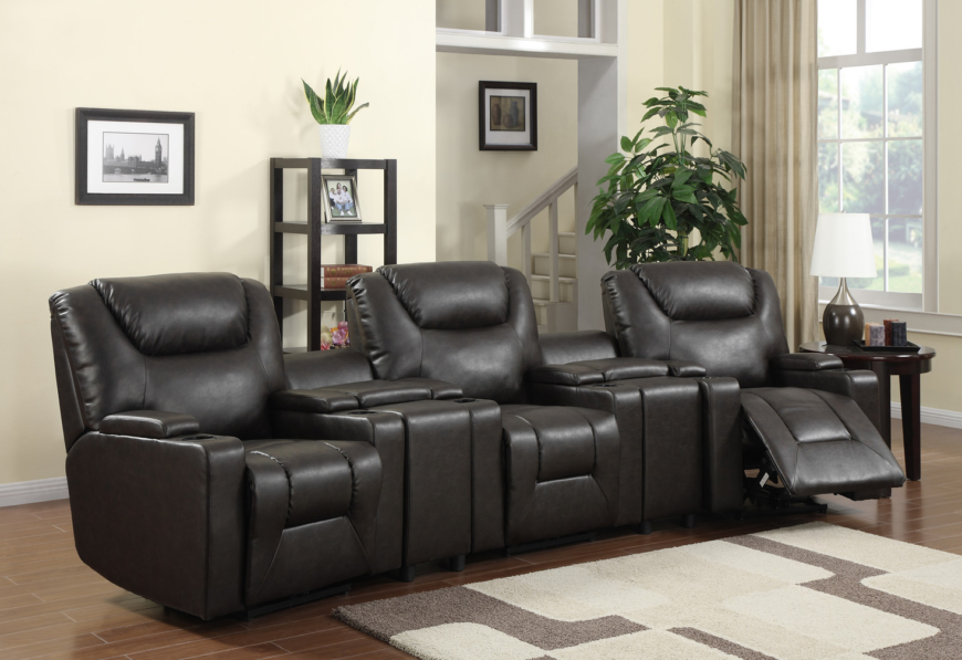 If your home is on the more elegant end of modern style, you'll want to check out a set like this. The bespoke lines and gentle brown leather upholstery wrap a highly functional piece that features built-in storage, reclining function, and an abundance of individualized space.