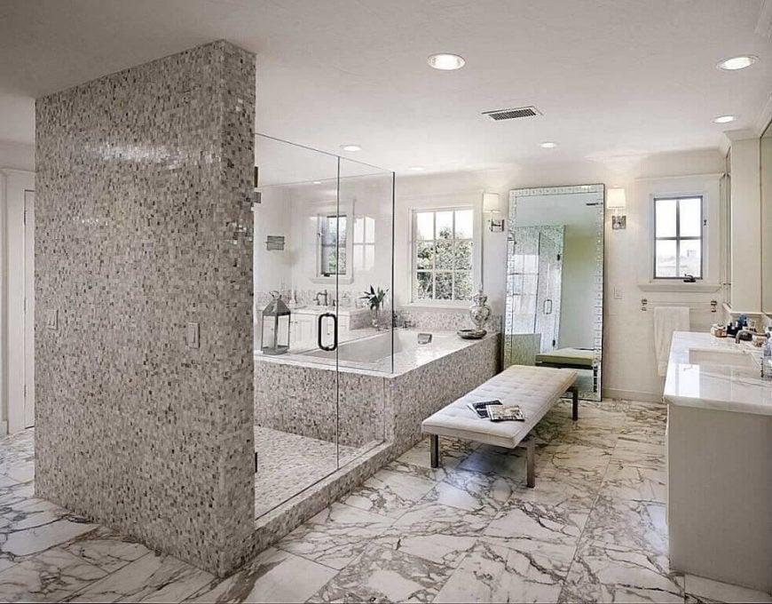 Large Luxury Bathroom with 2 Framed Windows