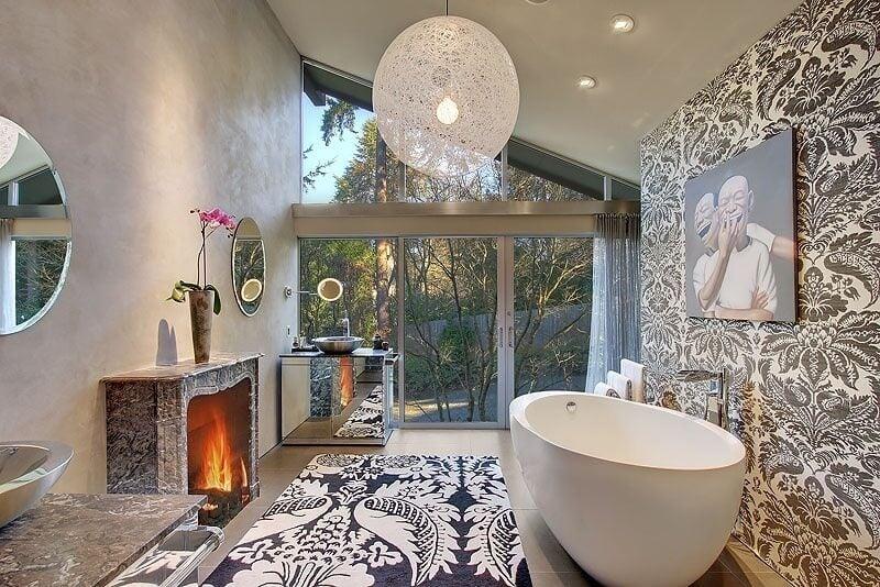 Bathroom with Large Glass Door