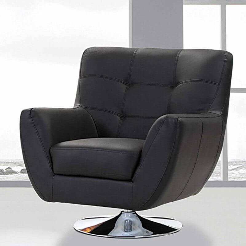 This beautiful, modern chair is likely to make your man cave feel like a CEO's office or the lair of a super villain. With action for a full 360 degree swivel, it makes a great, versatile centerpiece. The modern look compliments similar classy, black furniture, as well as sleek and minimalistic decor of all kinds. A polished chrome disk base adds flare, while plush cushioning and beautiful, deluxe upholstery make this chair look as good as it feels.