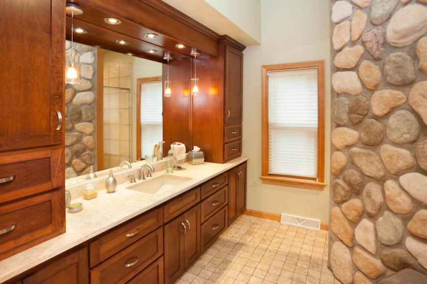 Bathroom with Wood-Framed Window and Blinds