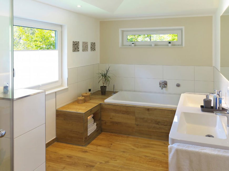 Bathroom with Tiny Elevated Window Above the Tub