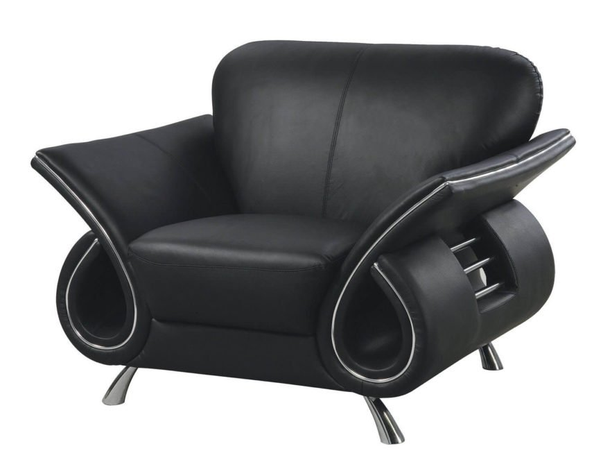 This unique design is perfect to stand out in any modern man cave. Upholstered in beautiful black leather and adorned with silver metal accents, this is just one piece of a larger collection, but has enough personality of its own to stand out among any decor. Bridging the gap between comfort and design, this chair is perfect for adding a bit of contemporary flare to your man cave.