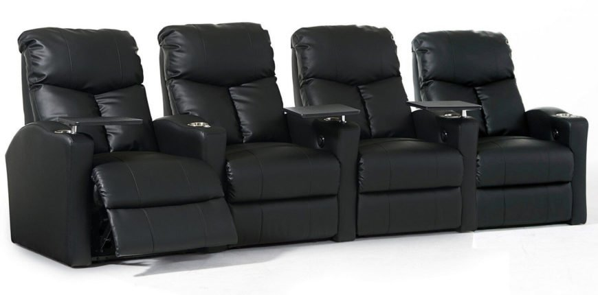 For our final home theater seating option, we wanted to showcase a truly high-end model. This straight row setup of recliners features an abundance of useful features, including removable tabletops for dining at the movies, a power recline function, and ultra-plush back cushioning. Sets like this are designed for home theater nirvana.