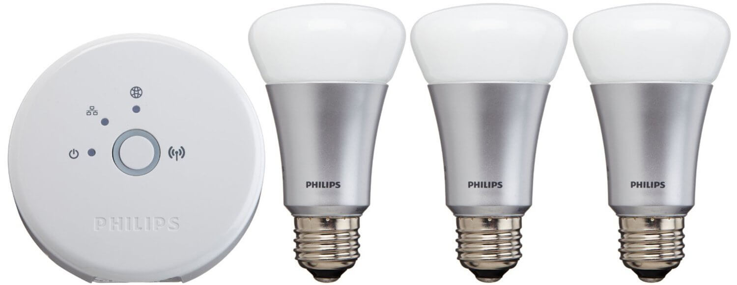 Similar to the WeMo set, this starter pack is the beginning piece of a set that could include up to 50 bulbs on a single bridge, all controllable remotely. One of its unique features is the ability to create lighting scenes based on your favorite photos, using the included free smartphone app.