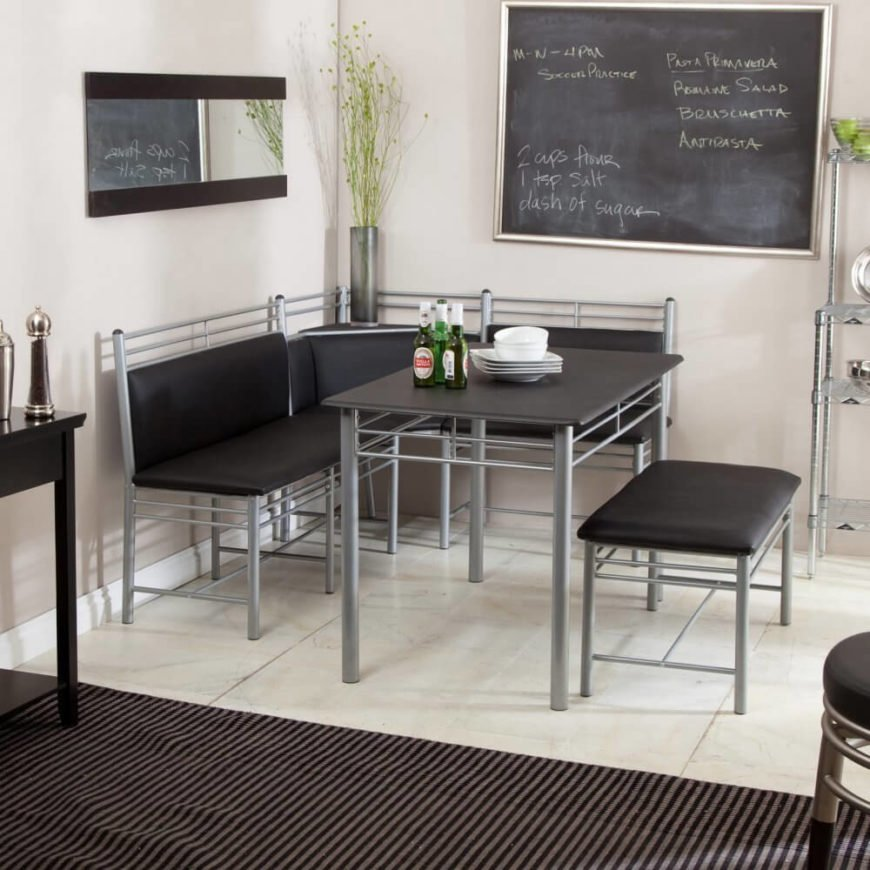 With this set, we move firmly into contemporary territory. The formica tabletop matches the texture and color of the cushions, making for striking contrast against the brushed metal pipe body. This light and airy looking set could add a dose of surprise in a traditional home or complement a more modern room easily.