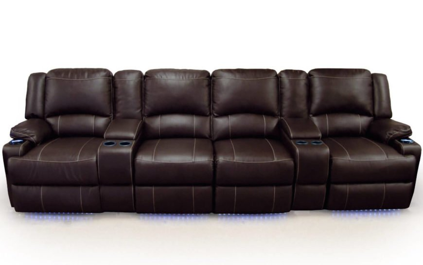 As the title suggests, the unique feature of this recliner set is the love seat at the center, with extra-wide armrests flanking for the utmost in space, privacy, and convenience. Subtle LED lighting beneath the frame offers that extra layer of movie theater-style accommodations.