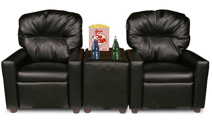 This model takes the utilitarian elements seen on other home theater seating options and turns the dial way up. Connecting the two chairs is a unique piece that doubles as tabletop and storage bin, offering a place to keep remotes, snacks, and set your drinks. If you have children, you'll know how useful this can be!