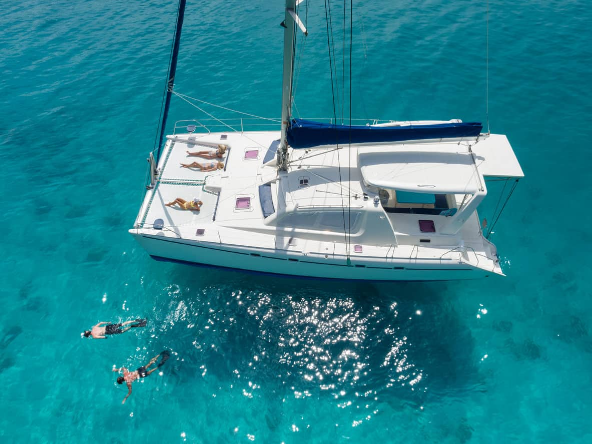 Catamaran yacht aerial view
