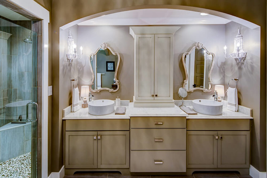 When it comes to style, though, the primary bathroom is a cut above the rest. Entering to face the sink area, a convenient walk in shower sits off to the left.