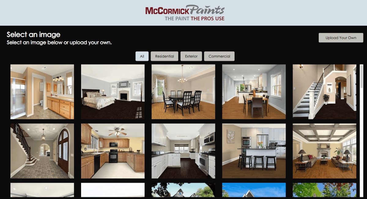 McCormick Paints online paint visualizer for rooms and house exteriors