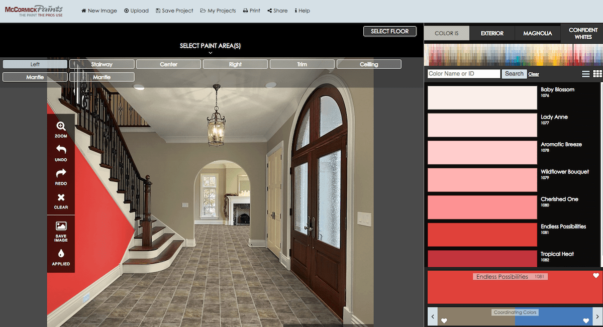 Virtual room painter software by McCormick Paints