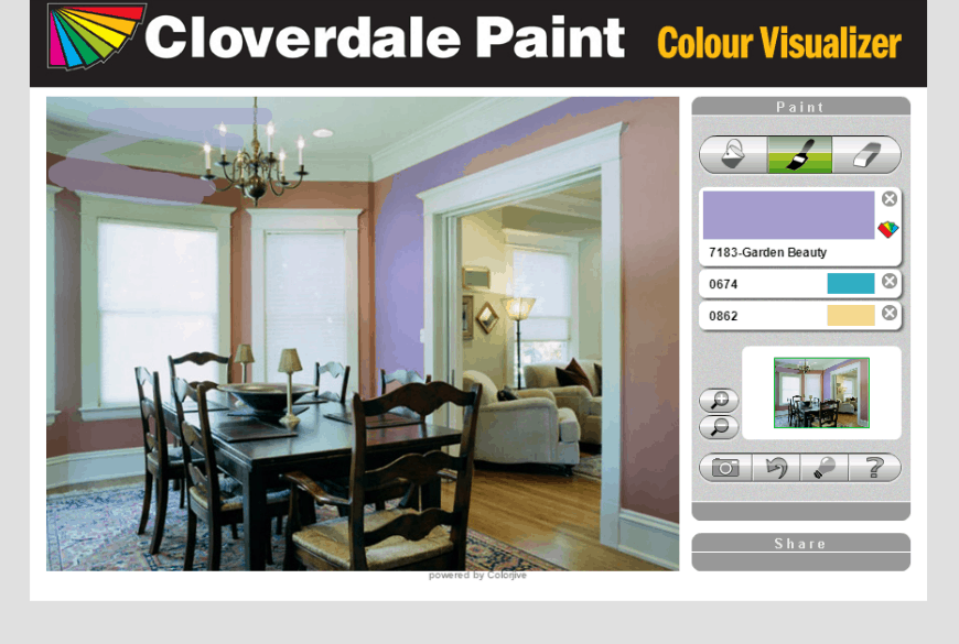 Cloverdale Paint Colour Visualizer brush