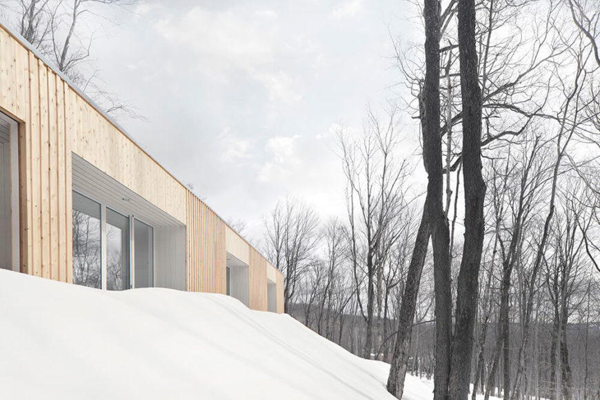 Seen from a low slope, the alcoves on the exterior appear thick enough to solidly define the interior and hide the windows from direct sunlight in the summertime. Here in winter, they allow the perfect amount to penetrate the interior.