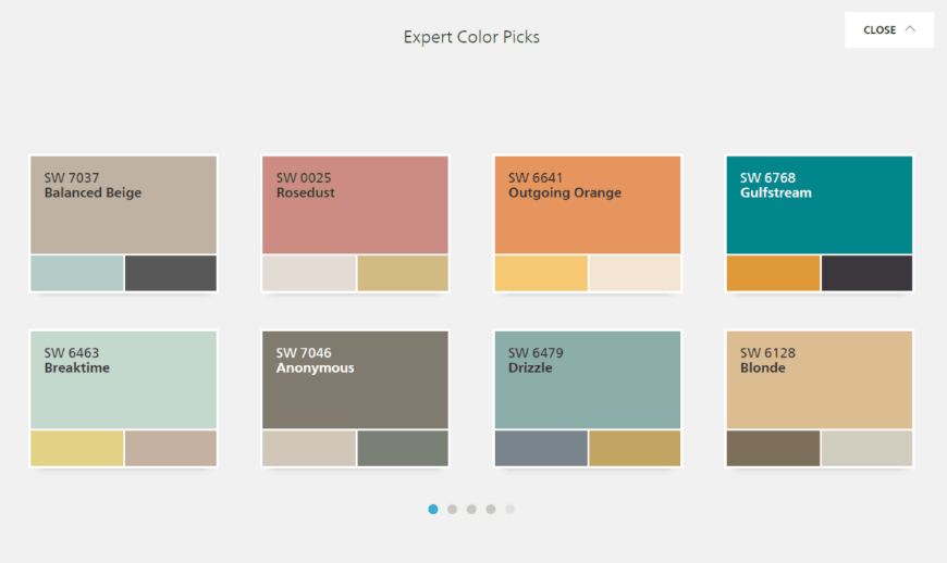 Sherwin-Williams ColorSnap ® Visualizer color theme picks
