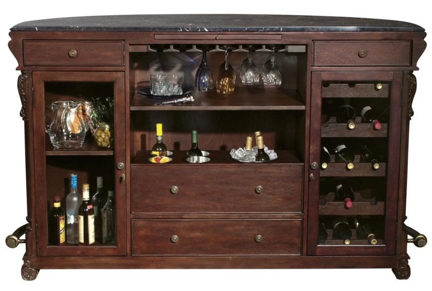 While the front is an elegant, smooth curve presenting a singular look toward the rest of your man cave, the back side of this bespoke bar reveals a cornucopia of storage options. With both swing-out drawers and open shelving for glasses, openers, and everything else you might need, this bar is the perfect way to add some useful elegance to your man cave.