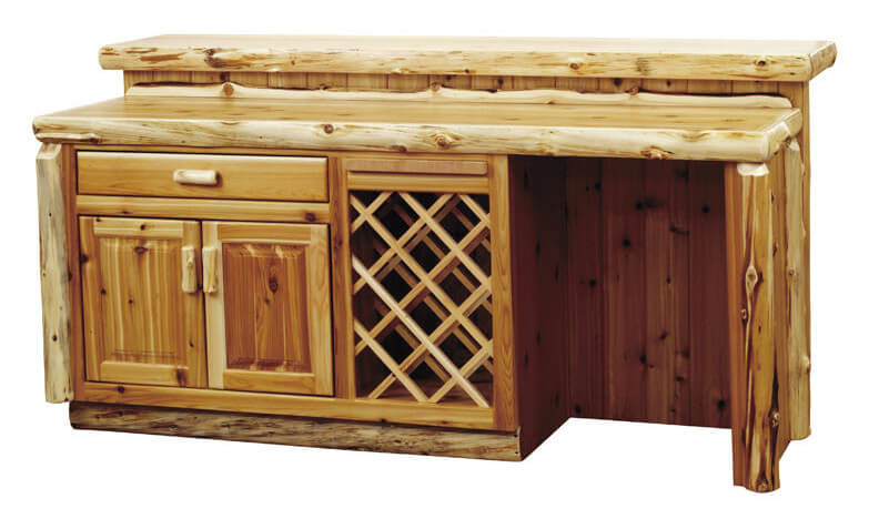 If your man cave is all about masculine, rustic style, you'll want to check out this bar. Crafted from rich natural wood with a knotty, tough appearance, it's got all the convenience of a modern home by in a more prosaic package. There's a built in wine rack, retractible cutting board, and large storage drawer and cabinet for utmost utility.