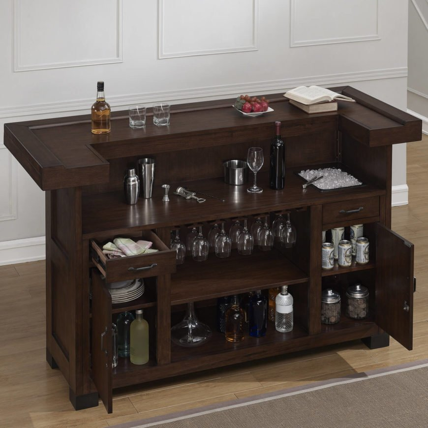 When understated luxury is what you're aiming for in a man cave, this home bar fits the bill perfectly. Rich wood meets classic lines in a relatively compact size for all that it provides in terms of storage and usability. The cabinets can be locked for security, and there's even a lower bar surface for mixing and pouring drinks.