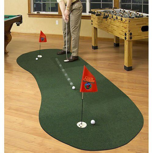 Speaking of distractions, we also love the idea of this putting green, a more rounded shape mat with two holes for competitive play. Whether you're taking a moment to work on your put during commercials, or facing off against friends, we think this could be a more than valuable addition to your man cave, so long as you've got the floor space to spare.