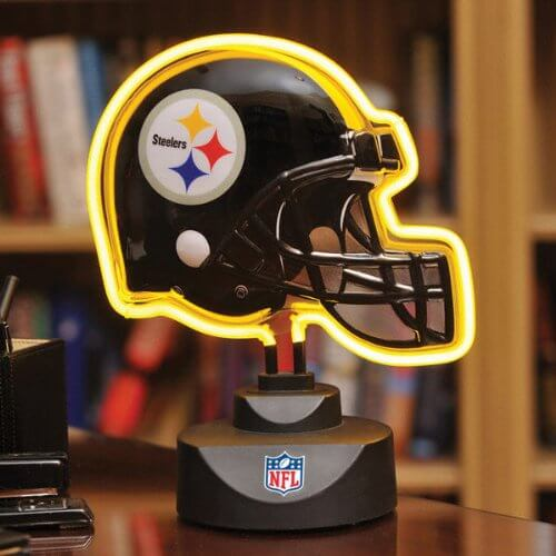 Football fanatics, check this out. Cheeky, fun lamps are always a welcome accessory in any man cave, but if you're a sports fan, something like this just might be the perfect fit. Neon signs have long been a man cave staple, from car logos to beer brands, but they're often costly. A smaller free standing piece like this gives your man cave that playful feeling without the huge price tag.