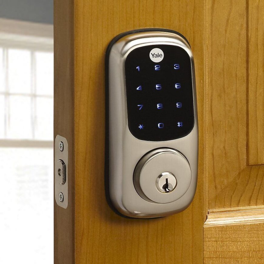 This touchscreen home door deadbolt lock is fully motorized and communicates with the rest of your smart home via Z-Wave Technology. The satin nickel finish gives it a timeless appeal like any old standard lock you'd buy purely for safety and aesthetic reasons. When integrated with a Z-Wave smart home system, you can lock or unlock doors with your smartphone, as well as program loads of options, like setting the lights to come on as soon as the door is unlocked.