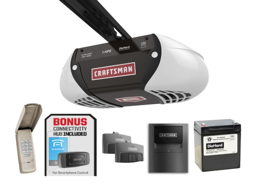 Unlike the prior devices on this list, this is a full garage door opener itself, rather than an add-on device. With its quiet belt operation and battery back up, the Craftsman is a solid piece of engineering. Smart technology takes it to the next level, with an AssureLink app connection for your smartphone that lets you monitor and operate your garage door from anywhere with an internet connection. You can provide remote access to your home for family, friends, or deliveries while across the globe.
