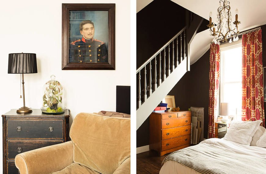 In one of the bedrooms, we see more refurbished antique furniture like the distressed wood dresser next to a plush roll-arm chair. Beneath this separate staircase, we see a rich wood dresser and an ornate chandelier hanging over the bed, at right.