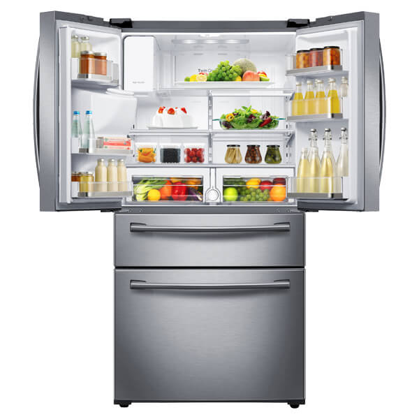 We admit that we were skeptical of large LCD panels on refrigerators at first, but the technology has truly matured. With its 8 inch screen and wifi connectivity, you can browse the web and easily access apps right on the fridge door, compiling shopping lists and controlling the cooling. The other unique feature is a counter-height drawer designed to help you organize your groceries and offer easy access to kids' items.