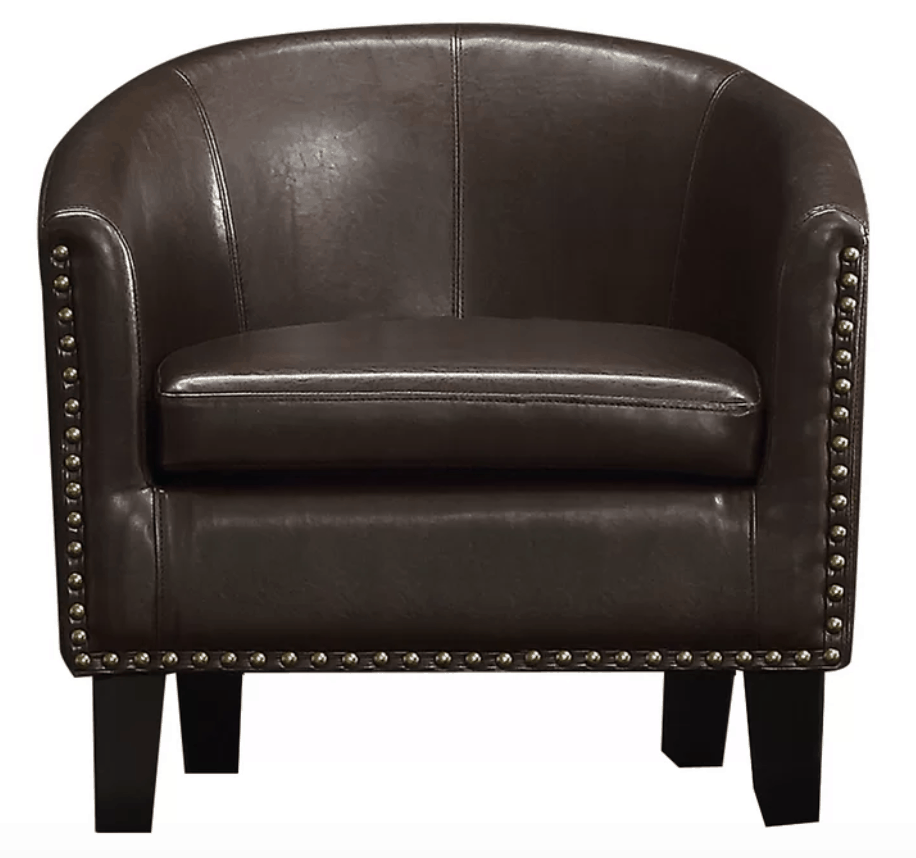 Dark Brown Faux Leather Barrel Chair With Bronze Nails For Man Caves.