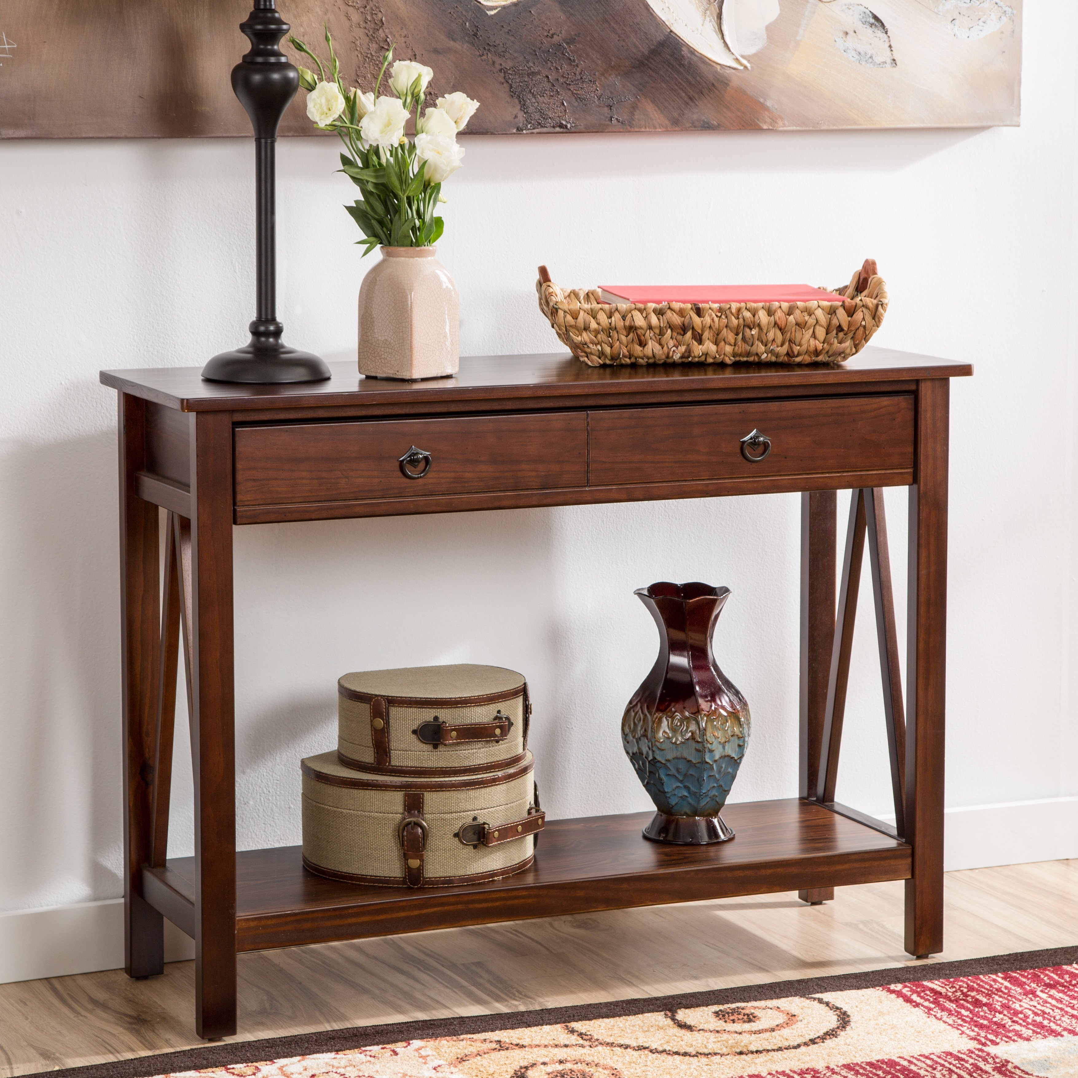 Brown foyer table photo