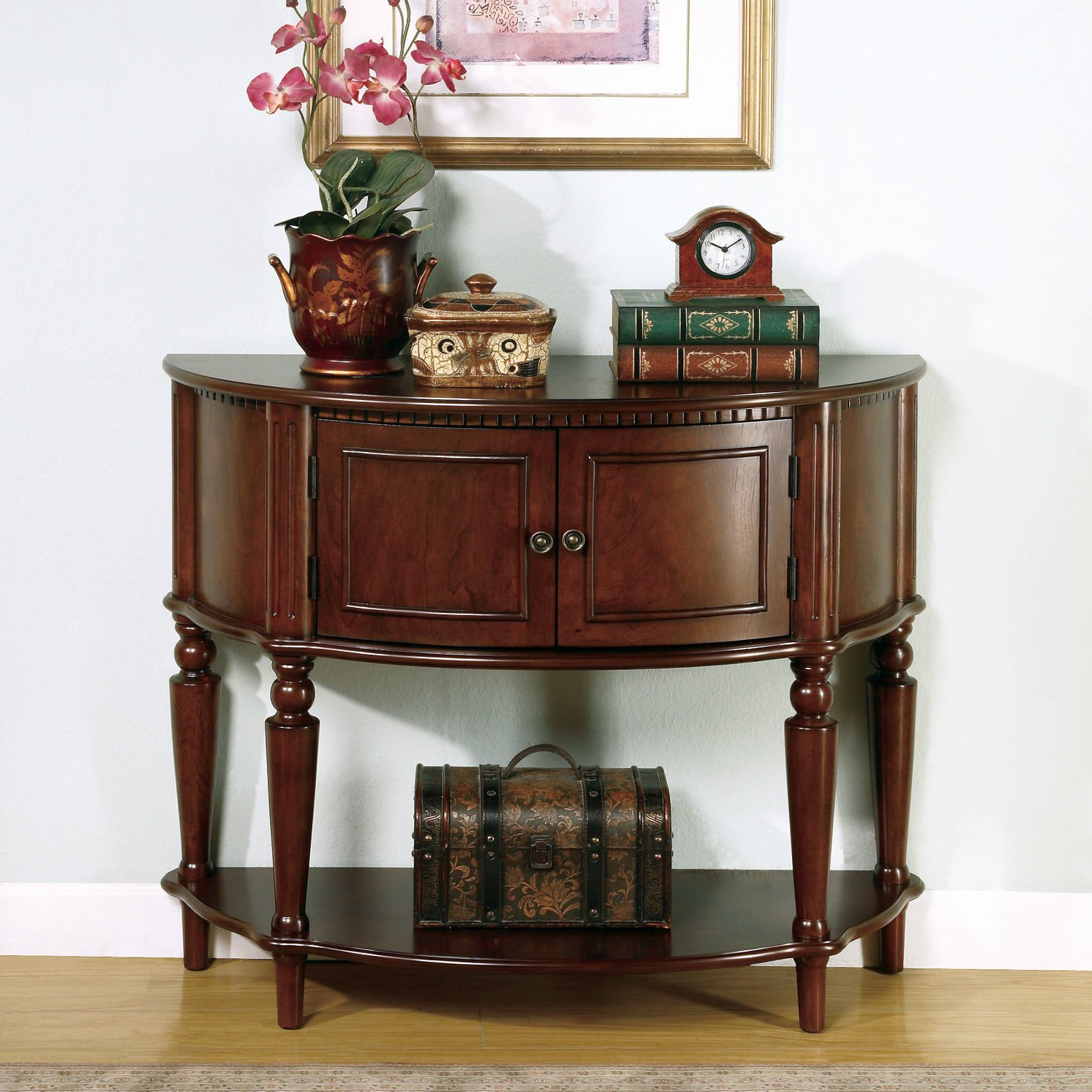 Foyer table with cabinet compartment