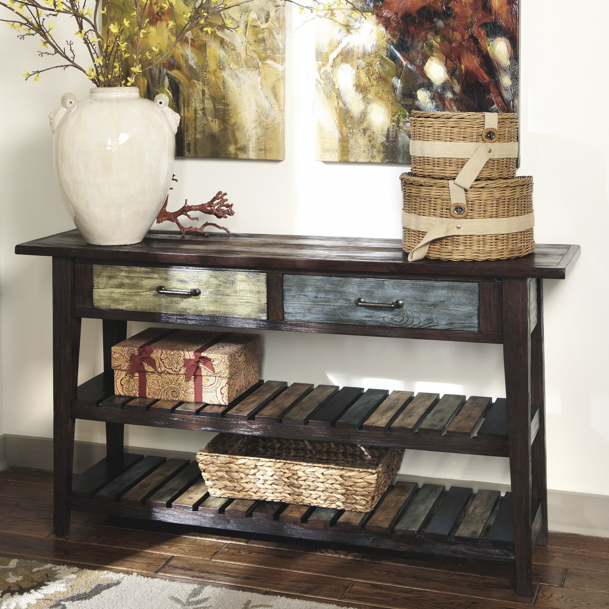 Foyer table with shelves