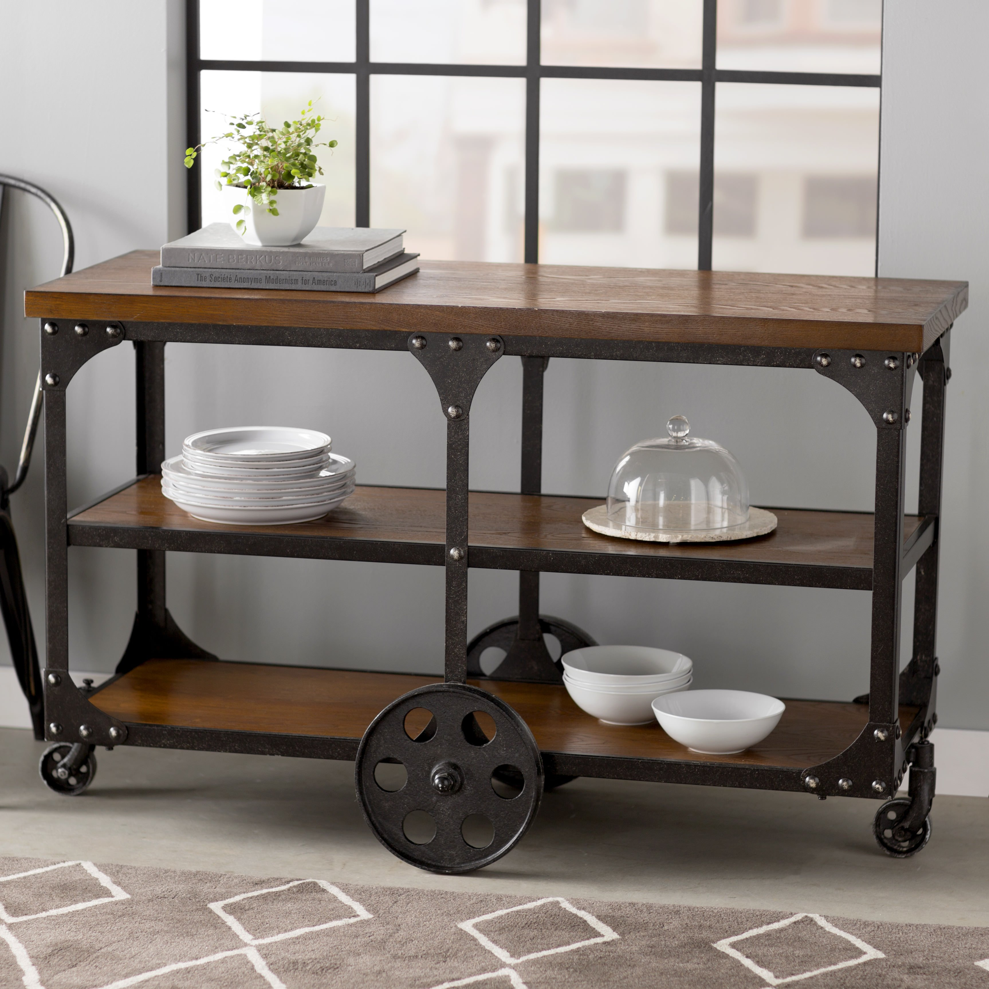 Entryway table on wheels