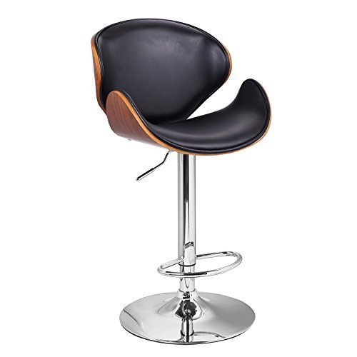 This is one of our favorites, a unique stylistic hybrid of a bar stool that flaunts a midcentury modern elegance and organic sense of comfort and style. The chromed hydraulic lift makes for a fully adjustable stool, while the low back and curved seat with black leatherette upholstery makes for a distinctly comfortable, stylish place to plant yourself and friends. We think this would match well with any traditional or contemporary man cave.