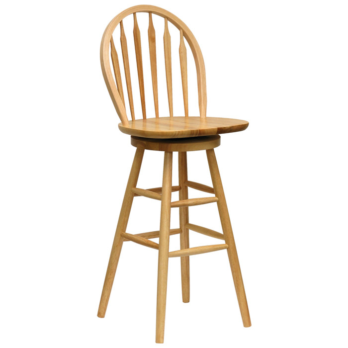 Here's an example of utterly classic styling, a bar stool in rich natural wood that looks like a grown-up version of everyone's favorite dining chair. The arched back and simple frame convey a timeless quality, while the solid swivel mechanism and seat top make for a comfortable place to spend time with friends. Style like this fits in with a wide range of spaces, working well in many traditional or contemporary styled man caves.