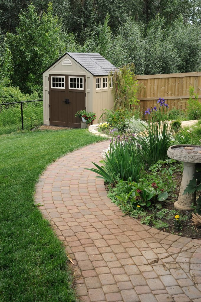Resin and composite shed materials are long lasting and require very little upkeep and often come in neutral colors.