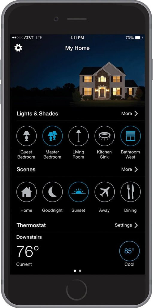 Here's a look at the app as it appears running on a smartphone. The sleek design, allows for simple, direct control of your smart home environment at a touch.