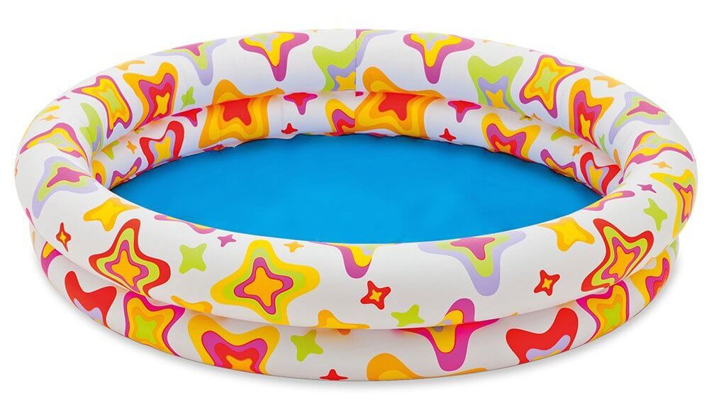 This is a smaller and simple inflatable pool. Because of this pools size, it would be quicker to inflate. It's bright pattern is fun for kids, and the lining make it easy to clean.