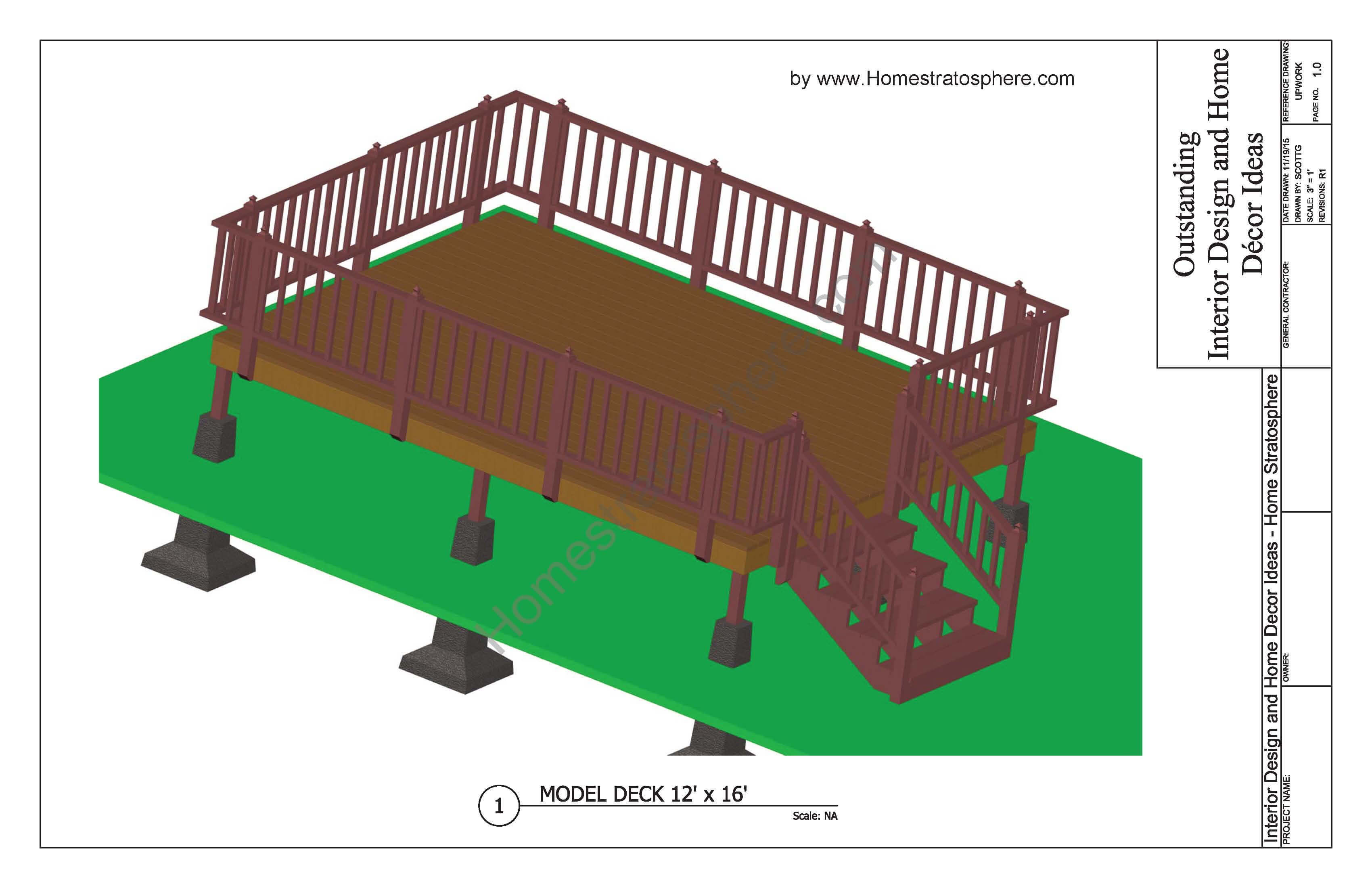 12x16 Deck with Stairs Plan