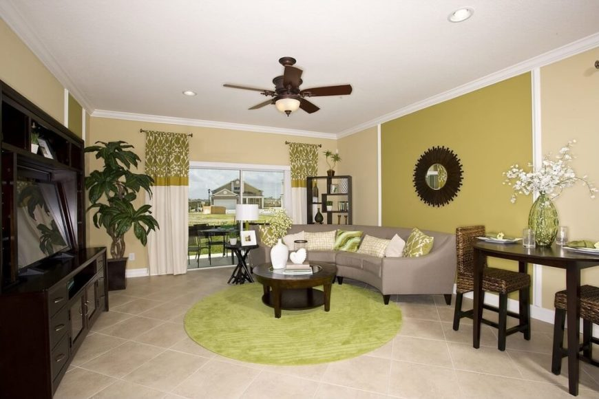 This room uses a number of different shades and hues of green to create a great deal of depth and a dynamic feel with using only a few colors. While there are mostly shades of green, they are all somewhat faded or dusty